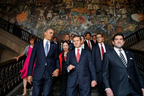 From Left: U.S. President Barack Obama and Mexican President Enrique Pena Nieto at the National Palace in Mexico City, on 02 May 2013.