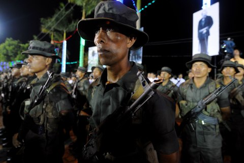 Nicaraguan soldiers of an ecological bat
