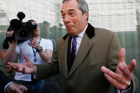 UK Independence Party (UKIP) leader Nigel Farage at a media interview in London, on May 3, 2013.