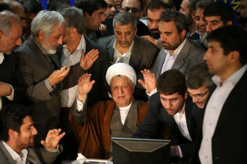 Former Iranian President Akbar Hashemi Rafsanjani, registers his candidacy for the presidential election, at the election headquarters of the interior ministry in Tehran, on May 11, 2013.