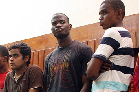 Michael Adebolajo, center, among the nine suspected members of the Al-Shabaab Movement arrested by Kenyan police on November 22 on claims of being Al-Shabaab recruits on their way to Somalia at the weekend, Nov. 23, 2010.