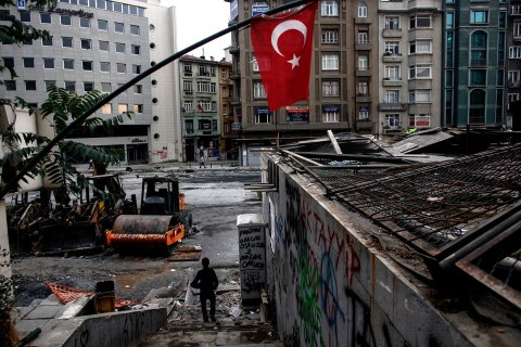 Near Taksim's Gezi Park in Istanbul, on June 12, 2013, hours after riot police invaded the square.