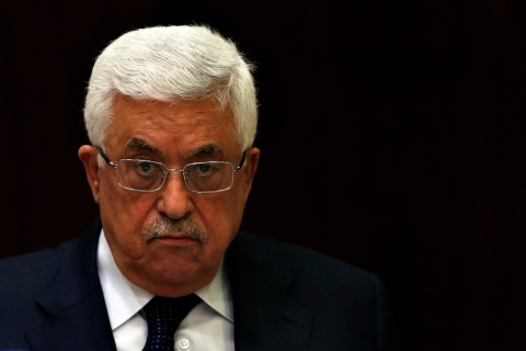 Palestinian President Mahmoud Abbas attends a Palestinian Liberation Organization (PLO) executive committee meeting in the West Bank city of Ramallah, on May 12, 2013.