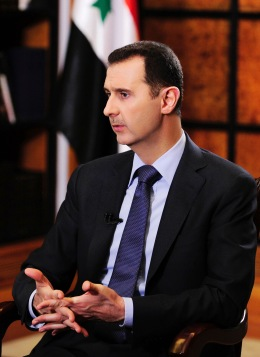 Syria's President Bashar al-Assad during an interview with journalists from Argentina in Damascus, on May 18, 2013.
