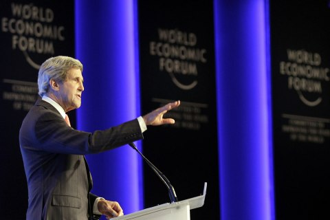 US Secretary of State John Kerry speaks during the opening session of the World Economic Forum on the Middle East and North Africa on May 26, 2013 at the King Hussein Convention Centre on the shores of the Dead Sea, 55 kilometres south of Amman.