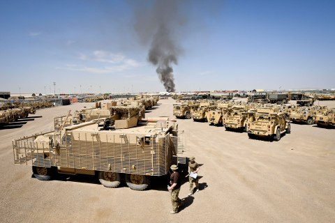 British military vehicles at Camp Bastion, Afghanistan on March 30, 2013.
