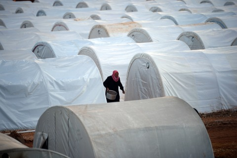 An internally displaced Syrian man in the Maiber al-Salam refugee camp along the Turkish border in the northern province of Aleppo, on April 17, 2013.