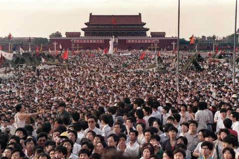 This photo, taken June 2, 1989, shows hundreds of thousands of Chinese in Tiananmen Square.