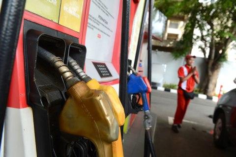 Gas pumps at a Pertamina station, Jakarta, Indonesia