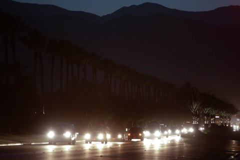 The motorcade carrying President Xi Jinping arrives in Indian Wells, Calif., on June 6, 2013.