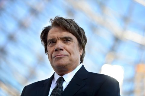 Former president of Olympique de Marseille Bernard Tapie before the start of a French L1 football match at the Velodrome stadium in Marseille, on May 26, 2013.