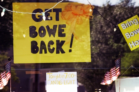 Signs of support for U.S.  Army Private Bowe Bergdahl are displayed in the storefront window of Zaney's Coffee House, in Hailey, Idaho, on July 22, 2009.