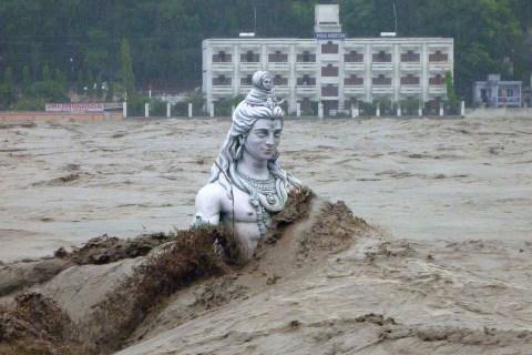 Flooded Ganges at Rishikesh in Uttarakhand