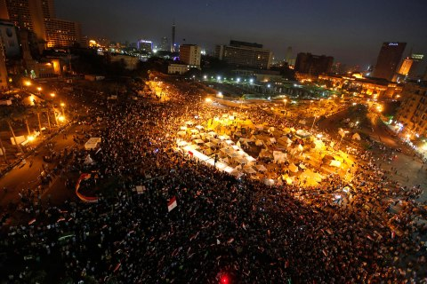 A general view shows protesters opposing Egyptian President Mohamed Mursi shouting slogans against him and members of the Muslim Brotherhood during a protest at Tahrir square in Cairo June 29, 2013.