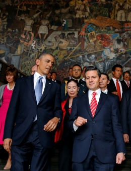 From left: U.S. President Barack Obama and Mexican President Enrique Pena Nieto at the National Palace in Mexico City, on May 2, 2013.