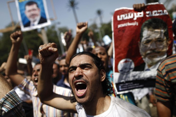 A supporter of the Muslim Brotherhood and ousted president Mohamed Morsi at a protest near Cairo University in the Egyptian capital on July 5, 2013.