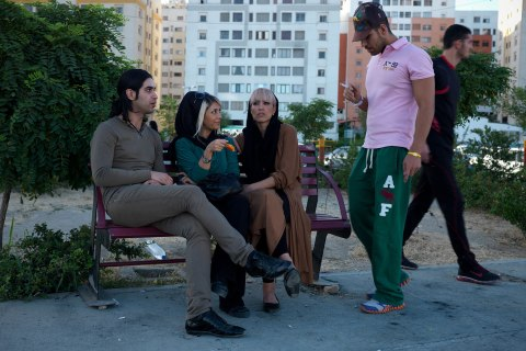 Youths hanging out in the western part of Tehran, where mostly middle class families live. They are still doubting who to vote for, or if they will vote at all, they said.