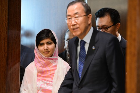 From left: Malala Yousafzai and UN Secretary-General Ban Ki-moon arrive at the United Nations headquarters in New York City, on July 12, 2013.