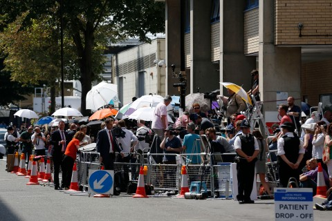 Members of media gather across from St Mary's Hospital Lindo Wing in London, on July 22, 2013.