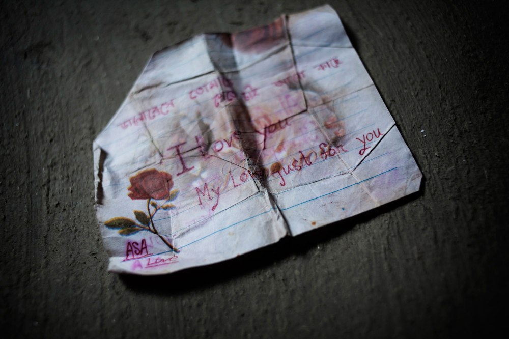 "A note found in the pocket of 18-year-old Al Amin, who died in the Rana Plaza factory collapse. His girlfriend, Asha, wrote, ""I love you. My love just for you."""