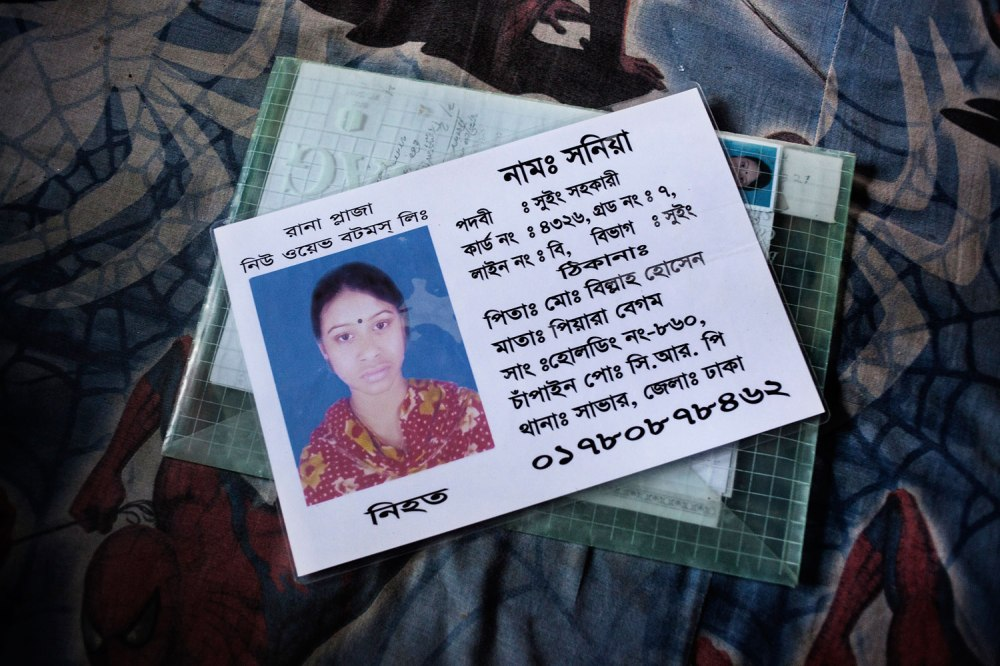 Sonia worked as a sewing helper at New Wave Bottoms, a garment factory in Rana Plaza. Her body was found 12 days after the collapse, but Sonia's father says her family has not yet received any compensation.