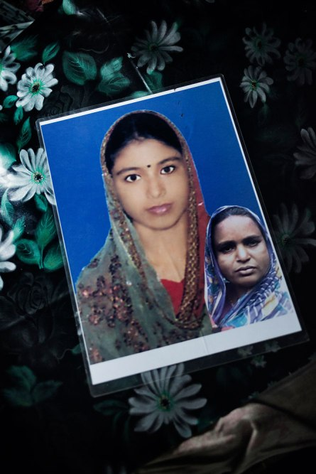 Sheuly and her sister Amena worked in the Ethertex Garment factory as a machine operator. Sheuly's family distributed this photo, a montage of Sheuly and her older aunt, hoping to find her after the collapse. Sheuly's body was found after 17 days. Her sister survived.