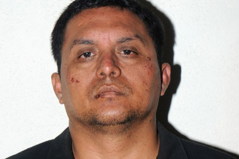 """Alleged head leader of Mexican drug cartel """"Los Zetas"""", Miguel Angel Trevino Morales, aka """"El Z 40"""" in Mexico City on July 16, 2013."""