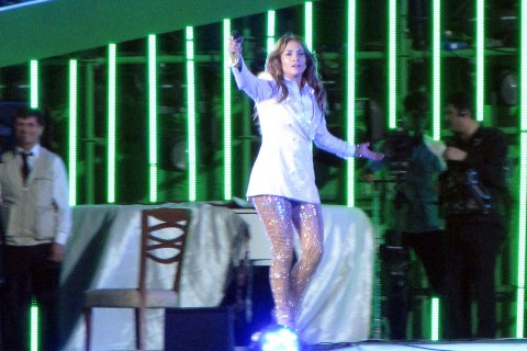 Jennifer Lopez performs at Avaza, near the city of Turkmenbashi (Father of all Turkmen), named after former president Saparmurat Niyazova on June 29, 2013.