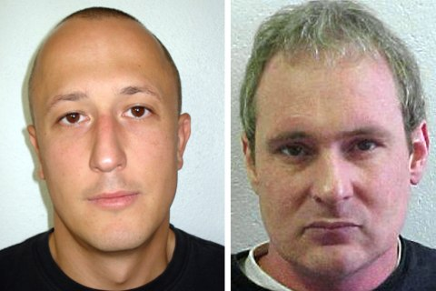 """A combination of two undated pictures released by the Swiss police on July 26, 2013 shows, from left, member of the Pink Panter gang Bosnian Milan Poparic and Swizterland's Adrian Albrecht. A Bosnian from the """"Pink Panther"""" gang of international jewel thieves escaped from a Swiss prison in a dramatic break-out involving a fellow inmate and two armed accomplices, police said on July 26, 2013."""
