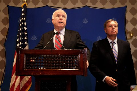 From left: Senators John McCain and Lindsey Graham address a joint press conference in Cairo, on Aug. 6, 2013.