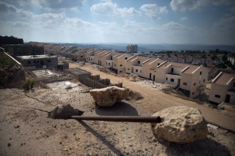 A construction site for a new neighborhood in the Jewish Settlement of Ariel in the West Bank, July 18, 2013.