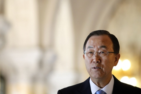 Secretary General of the United Nations Ban Ki-moon visits the Peace Palace in The Hague, The Netherlands, on Aug. 2013, on the day of the celebration of the building's 100th anniversary.