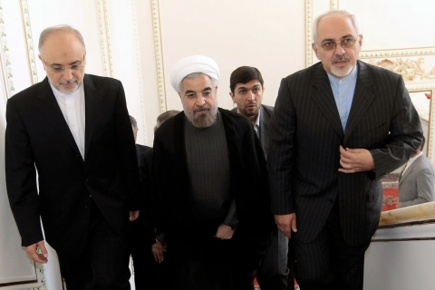 From left: Iran's head of Atomic Energy Organisation, Ali Akbar Salehi, Iranian President Hassan Rowhani, and Foreign Minister Mohammad Javad Zarif arrive at a ceremony at the Foreign Ministry in Tehran, on Aug. 17, 2013.