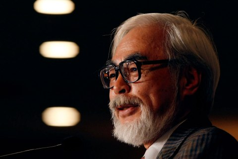 Japan's animation movie director Hayao Miyazaki speaks at a news conference in Tokyo
