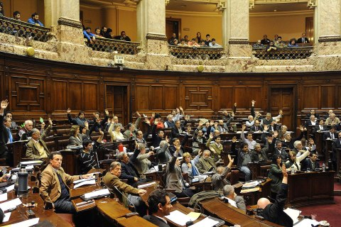 Uruguayan lawmakers vote for the bill legalizing marijuana in Montevideo, Uruguay on July 31, 2013.