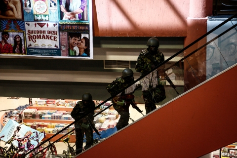 Soldiers on guard inside the Westgate shopping mall after a shootout in Nairobi, Kenya, Sept. 21, 2013.
