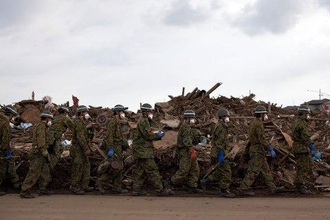 Japanese Self-Defense Force soldiers wal
