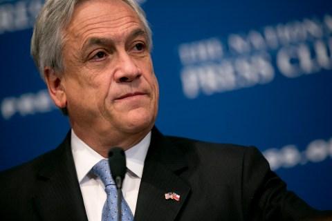 Sebastian Pinera speaks at the National Press Club in Washington, D.C., on June 4, 2013.