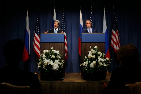 From left: U.S. Secretary of State John Kerry and Russian Foreign Minister Sergey Lavrov speak to the media before their meeting to discuss the ongoing crisis in Syria, in Geneva, on Sept. 12, 2013.