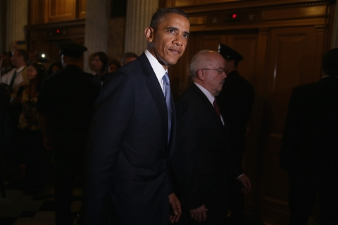U.S. President Barack Obama leaves after meeting with Senate Republicans at the U.S. Capitol in Washington, D.C., on Sept. 10, 2013.
