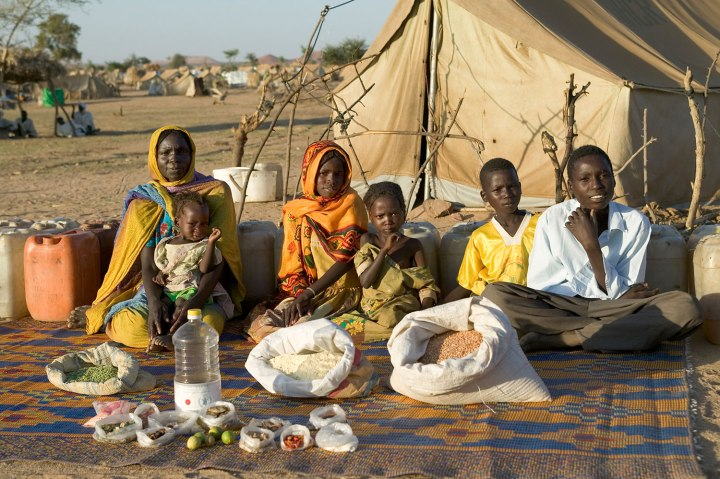 Chad: The Aboubakar family of Breidjing Camp.  Food expenditure for one week: 685 CFA Francs or $1.23. Favorite foods: soup with fresh sheep meat.