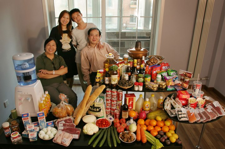 China: The Dong family of Beijing.  Food expenditure for one week: 1,233.76 Yuan or $155.06. Favorite foods: fried shredded pork with sweet and sour sauce.