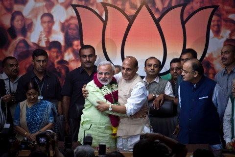 From left: Gujarat state Chief Minister Narendra Modi and Bharatiya Janata Party (BJP) President Rajnath Singh, in New Delhi, on Sept. 13, 2013.