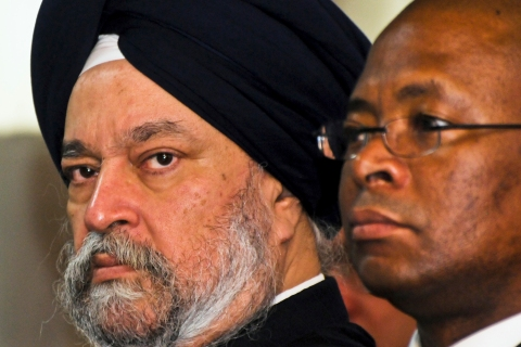 U.N. Security Council member Ambassador Hardeep Singh Puri of India listens during a news conference in Port-au-Prince