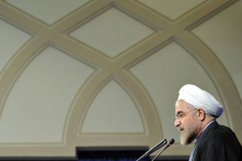 Iranian  President Hasan Rouhani speaks at his first press conference since taking office, at the presidency compound in Tehran, on Aug. 6, 2013.