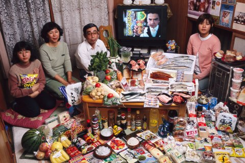Japan: The Ukita family of Kodaira City.   Food expenditure for one week: 37,699 Yen or $317.25.  Favorite foods: sashimi, fruit, cake, potato chips.
