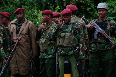Kenyan policemen gather for a briefing near the Westgate Shopping Centre in the capital Nairobi
