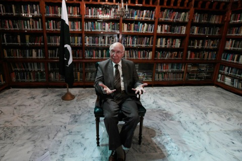 Sartaj Aziz, Pakistani Prime Minister Nawaz Sharif's adviser on foreign affairs, speaks during an interview with Reuters in Islamabad, Pakistan, Sept. 10, 2013.