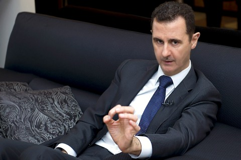 Syrian President Bashar al-Assad during an interview with a German newspaper in Damascus, on June 17, 2013.
