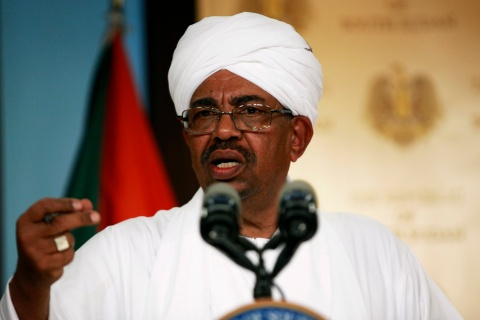 Sudan's President Bashir addresses a joint news conference with his South Sudan's counterpart Kiir in Juba
